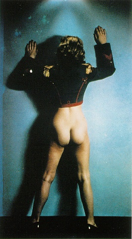 Nude with bandleader's jacket