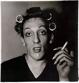 young man with curlers
